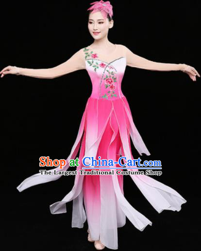 Chinese Traditional Classical Dance Lotus Dance Pink Dress Umbrella Dance Stage Performance Costume for Women
