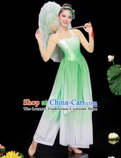 Chinese Traditional Umbrella Dance Jasmine Flower Dance Green Dress Classical Dance Stage Performance Costume for Women