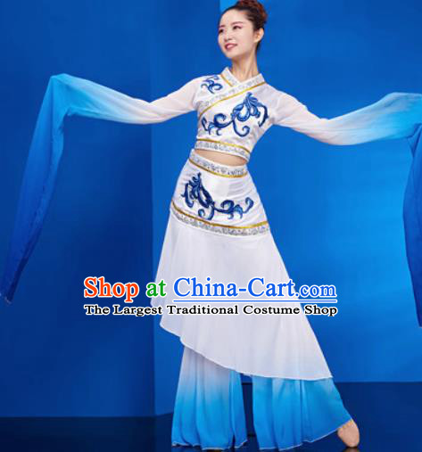 Chinese Traditional Umbrella Dance White Dress Classical Jasmine Flower Dance Stage Performance Costume for Women