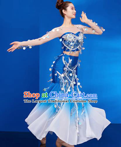 Traditional Chinese Dai Nationality Folk Dance Blue Dress National Ethnic Peacock Dance Costume for Women