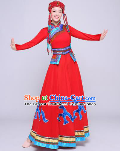 Traditional Chinese Mongol Nationality Folk Dance Red Dress National Ethnic Costume for Women