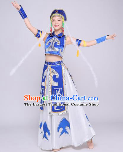 Traditional Chinese Mongol Nationality Folk Dance Dress Mongolian National Ethnic Costume for Women