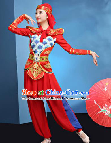 Traditional Chinese Folk Dance Stage Show Clothing Group Drum Dance Red Costume for Women