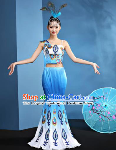 Traditional Chinese Dai Nationality Blue Dress National Ethnic Folk Dance Peacock Dance Costume for Women