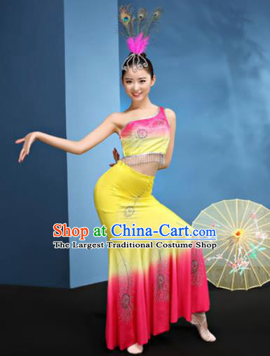 Traditional Chinese Dai Nationality Yellow Dress National Ethnic Folk Dance Peacock Dance Costume for Women