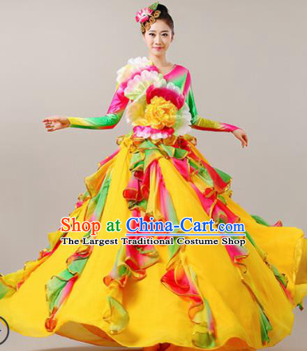 Chinese Traditional Opening Dance Bubble Dress Modern Dance Chorus Stage Performance Costume for Women