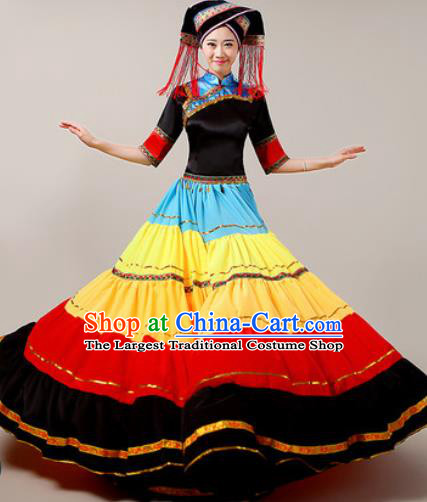 Traditional Chinese Yi Nationality Dress National Ethnic Folk Dance Costume for Women