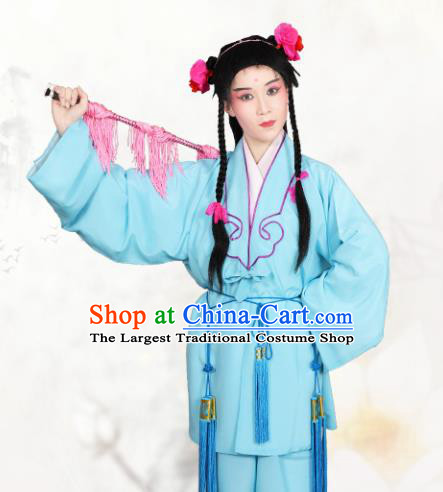 Chinese Traditional Peking Opera Clown Light Blue Clothing Classical Beijing Opera Attendants Costume for Men
