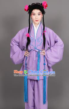 Chinese Traditional Peking Opera Clown Purple Clothing Classical Beijing Opera Attendants Costume for Men