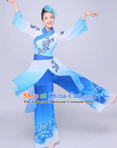 Chinese Traditional Folk Dance Group Dance Blue Clothing Yangko Fan Dance Costume for Women