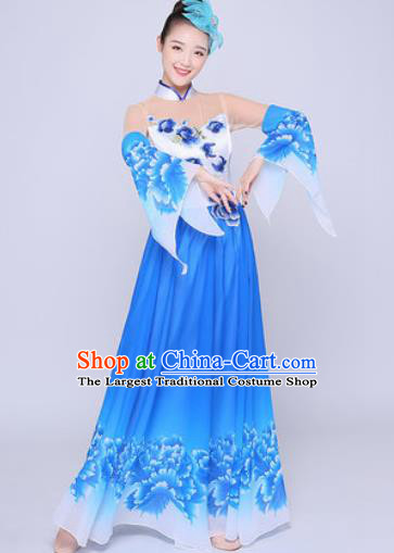Chinese Traditional Classical Dance Peony Dance Blue Dress Umbrella Dance Stage Performance Costume for Women