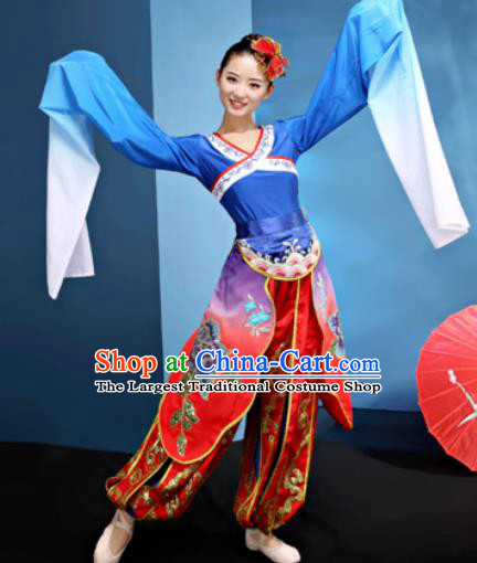 Traditional Chinese Folk Dance Water Sleeve Clothing Yangko Dance Costume for Women