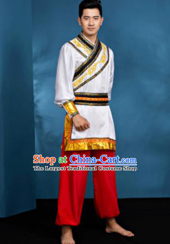 Traditional Chinese Mongol Nationality Folk Dance Clothing Mongolian National Ethnic Costume for Men