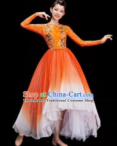Chinese Traditional Opening Dance Chorus Orange Veil Dress Modern Dance Stage Performance Costume for Women