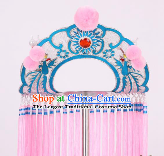 Chinese Traditional Peking Opera Fisher Maiden Pink Tassel Hat Classical Beijing Opera Headwear for Women