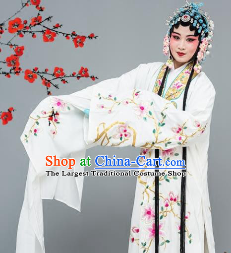 Chinese Traditional Peking Opera Princess White Dress Classical Beijing Opera Actress Costume for Adults