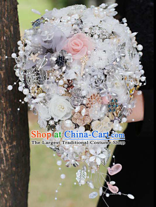 Top Grade Wedding Bridal Bouquet Hand Emulational Crystal Pearls Tied Bouquet Flowers for Women
