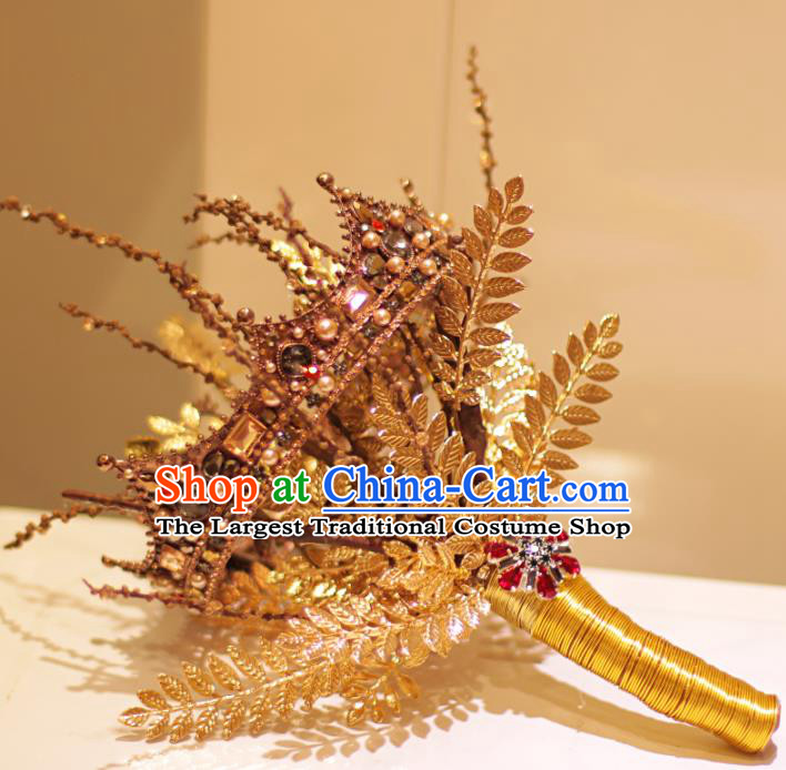 Top Grade Wedding Bridal Bouquet Hand Crystal Golden Royal Crown Tied Bouquet Flowers for Women