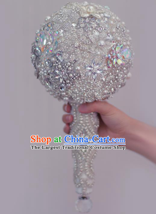 Top Grade Wedding Bridal Bouquet Hand Crystal Ball Tied Bouquet Flowers for Women