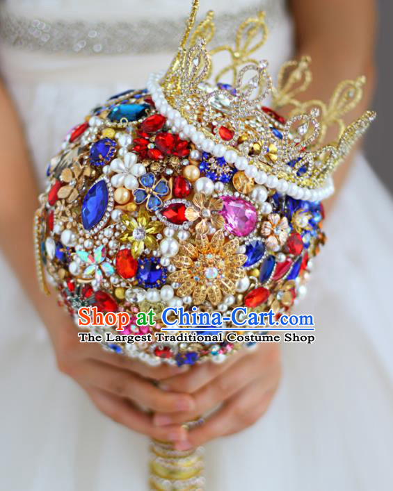 Top Grade Wedding Bridal Bouquet Hand Colorful Crystal Ball Tied Bouquet Flowers for Women