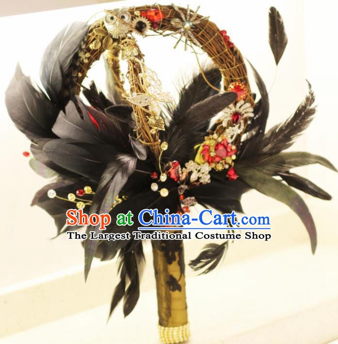 Top Grade Wedding Bridal Bouquet Hand Black Feather Ball Tied Bouquet Flowers for Women