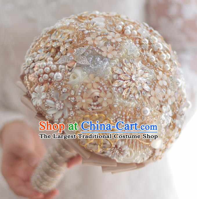 Top Grade Wedding Bridal Bouquet Hand Champagne Crystal Ball Tied Bouquet Flowers for Women