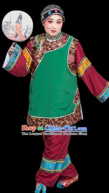 Chinese Traditional Peking Opera Old Women Green Clothing Classical Beijing Opera Matchmaker Costume for Adults