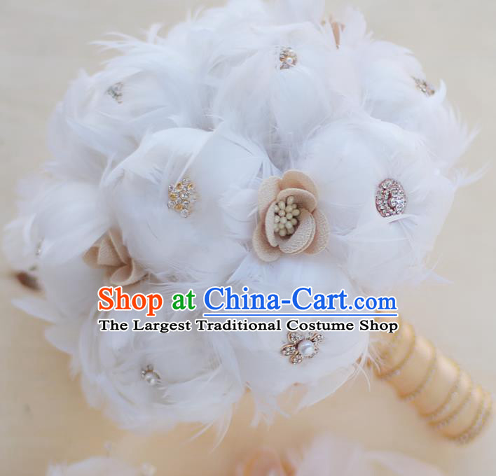 Top Grade Wedding Bridal Bouquet Hand White Feather Flowers Bunch for Women