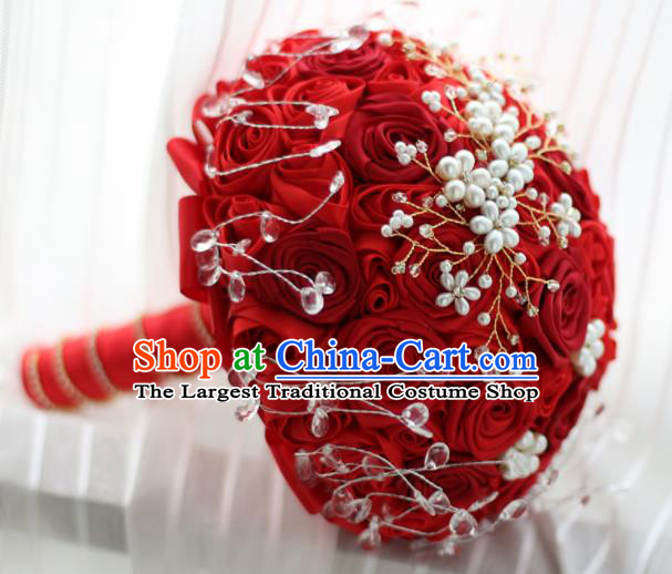 Top Grade Wedding Bridal Bouquet Hand Red Rose Flowers Bunch for Women