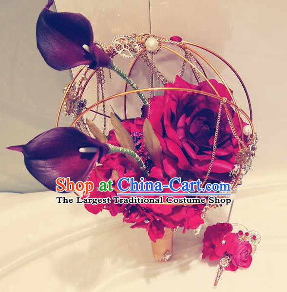 Top Grade Wedding Bridal Bouquet Hand Red Peony Flowers Bunch for Women