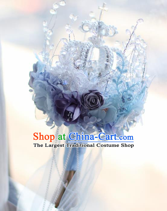 Top Grade Wedding Bridal Bouquet Hand Blue Flowers Royal Crown Bunch for Women
