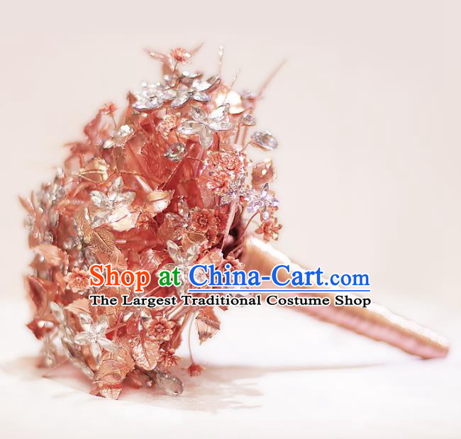Chinese Traditional Wedding Bridal Bouquet Hand Champaign Gold Flowers Bunch for Women