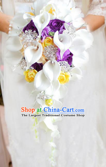 Top Grade Wedding Bridal Bouquet Hand Purple Roses Common Callalily Bunch for Women