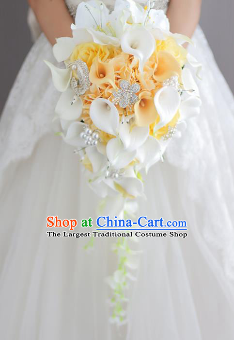 Top Grade Wedding Bridal Bouquet Hand Yellow Roses Common Callalily Bunch for Women