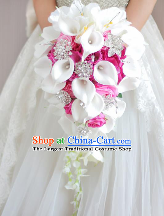 Top Grade Wedding Bridal Bouquet Hand Pink Roses Common Callalily Bunch for Women