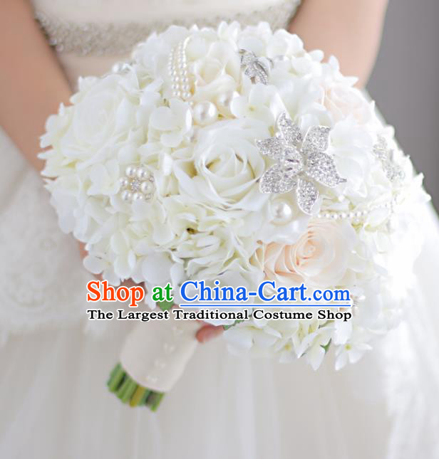 Top Grade Wedding Bridal Bouquet Hand White Flowers Bunch for Women
