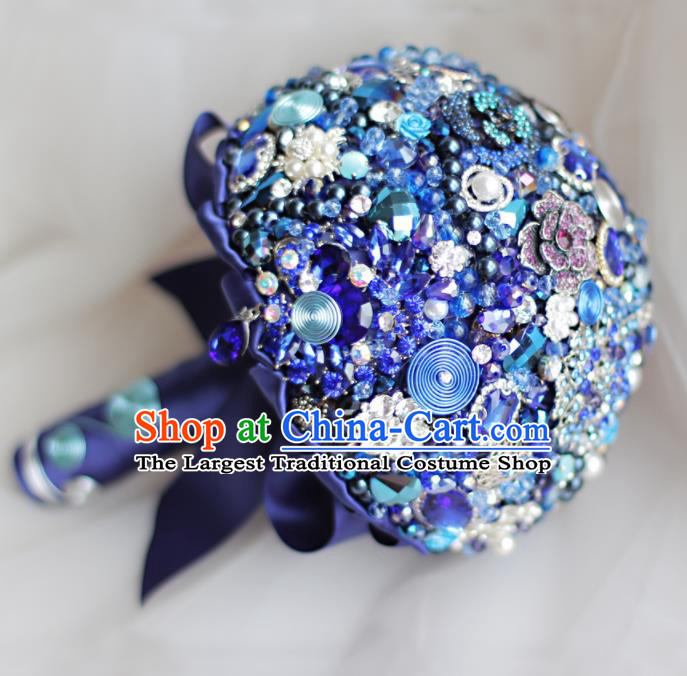 Top Grade Wedding Bridal Bouquet Hand Blue Crystal Flowers Bunch for Women