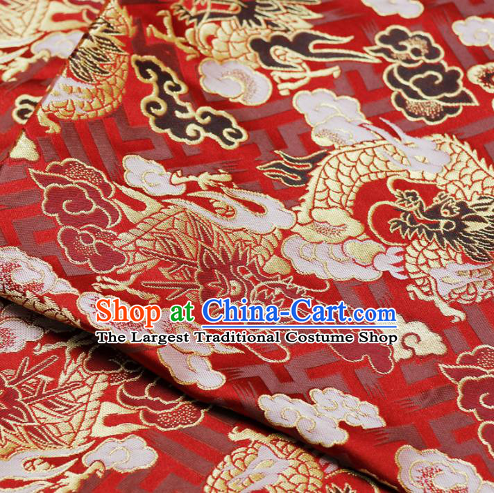 Asian Chinese Royal Cloud Dragon Pattern Red Brocade Fabric Traditional Silk Fabric Tang Suit Material