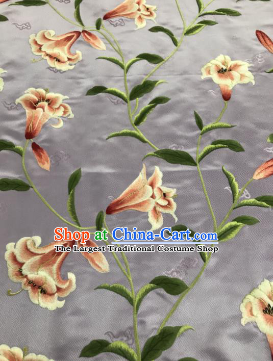 Asian Chinese Embroidered Greenish Lily Flower Pattern Grey Brocade Fabric Traditional Cheongsam Silk Fabric Material