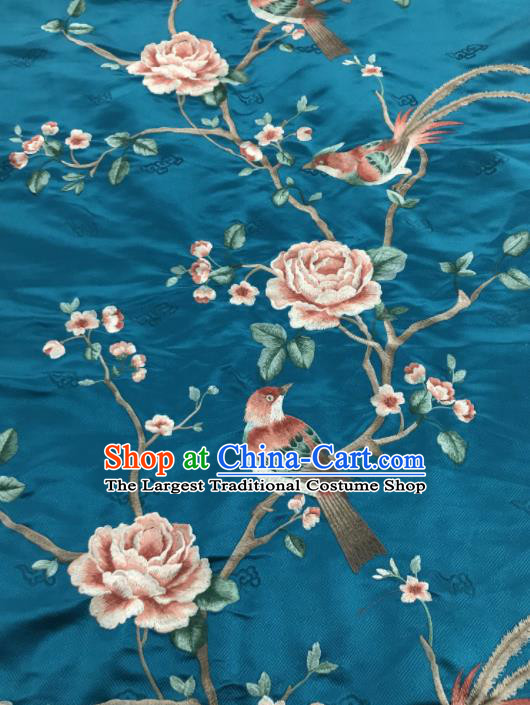 Asian Chinese Royal Embroidered Peony Birds Pattern Blue Brocade Fabric Traditional Cheongsam Silk Fabric Material