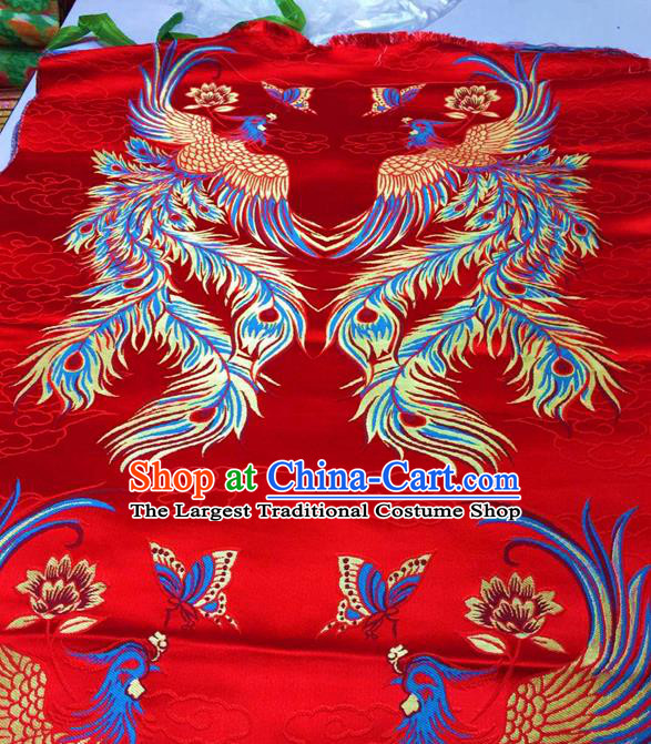 Asian Chinese Traditional Phoenix Pattern Red Nanjing Brocade Fabric Tang Suit Silk Material