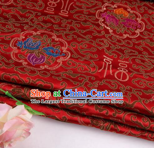 Asian Chinese Traditional Lucky Character Pattern Red Nanjing Brocade Fabric Tang Suit Silk Material