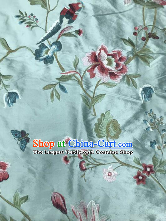Asian Chinese Suzhou Embroidered Peony Birds Pattern Blue Silk Fabric Material Traditional Cheongsam Brocade Fabric