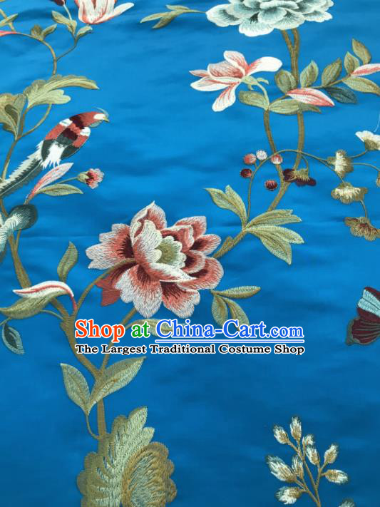 Asian Chinese Suzhou Embroidered Flowers Birds Pattern Blue Silk Fabric Material Traditional Cheongsam Brocade Fabric