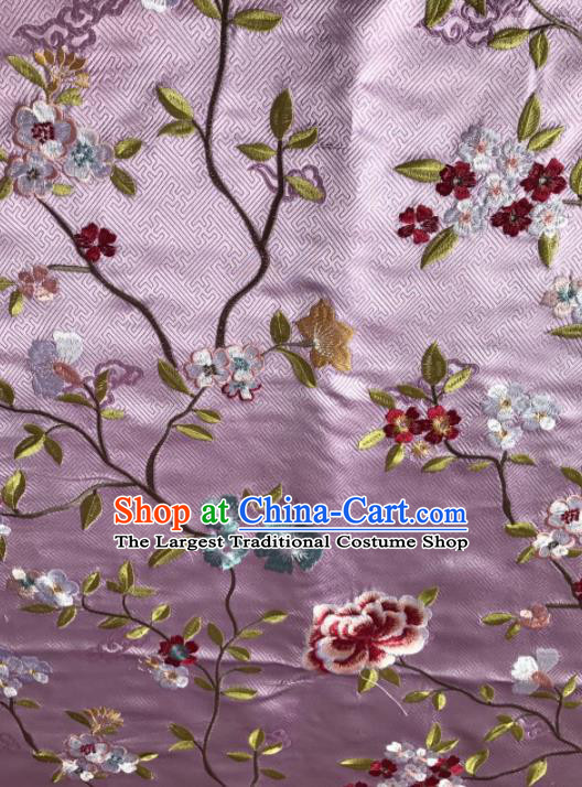 Asian Chinese Suzhou Embroidered Flowers Pattern Pink Silk Fabric Material Traditional Cheongsam Brocade Fabric