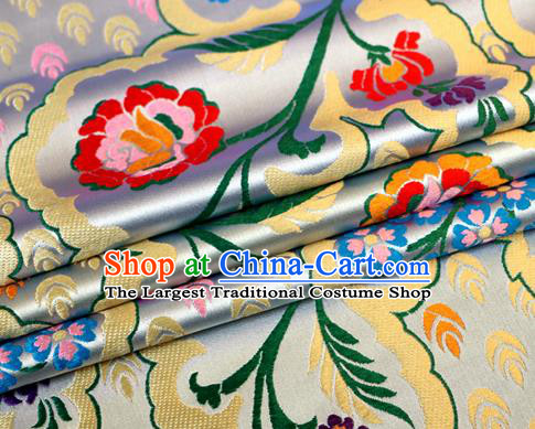 Asian Chinese Traditional White Nanjing Brocade Fabric Tang Suit Royal Pattern Silk Fabric Material