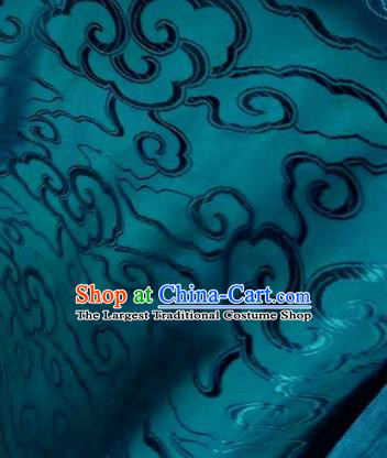 Asian Chinese Traditional Royal Auspicious Clouds Pattern Dark Green Brocade Fabric Tang Suit Silk Fabric Material