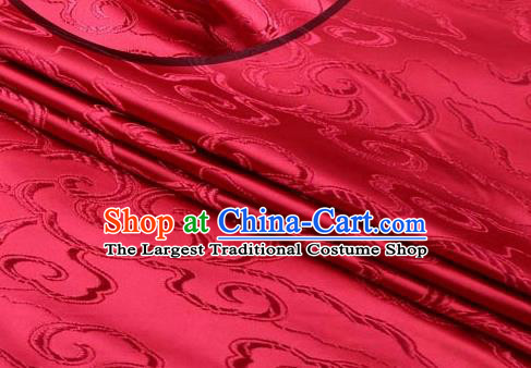 Asian Chinese Traditional Royal Auspicious Clouds Pattern Wine Red Brocade Fabric Tang Suit Silk Fabric Material