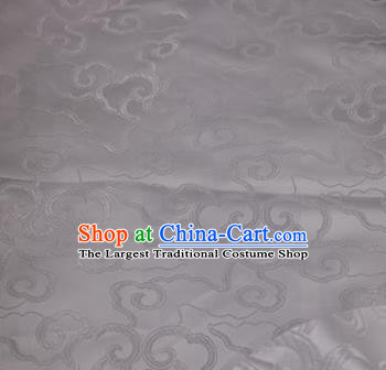 Asian Chinese Traditional Royal Auspicious Clouds Pattern White Brocade Fabric Tang Suit Silk Fabric Material