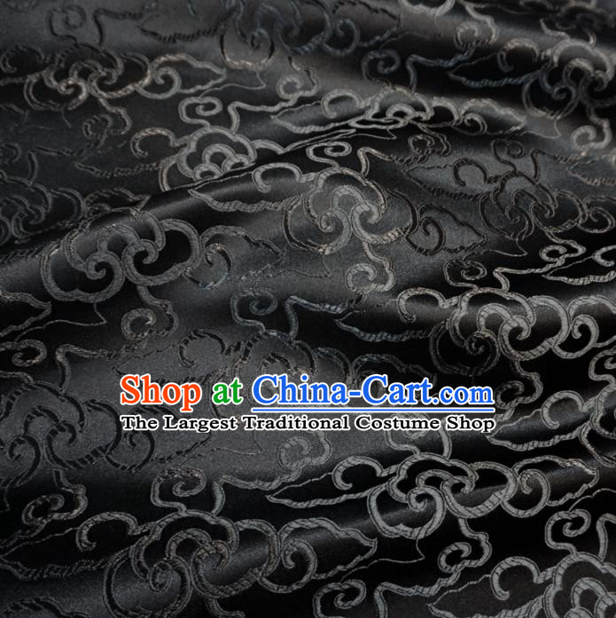 Asian Chinese Traditional Brocade Fabric Clouds Pattern Black Satin Tang Suit Silk Material
